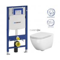 GEBERIT - SET Duofix pro závěsné WC 111.300.00.5 bez ovládací desky + WC CERSANIT Caspia NEW CLEANON + Sedátko (111.300.00.5 CP1)