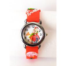 Dětské červené hodinky Barbie s červeným šátkem