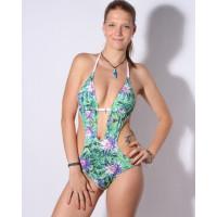 69Slam ONE PIECE TROPICAL FOREST sportovní plavky dámské jednodílné - XS