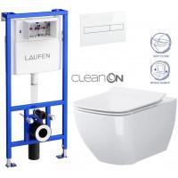 LAUFEN - Rámový podomítkový modul CW1 SET BÍLÁ + ovládací tlačítko BÍLÉ + WC OPOCZNO METROPOLITAN CLEANON + SEDÁTKO (H8946600000001BI ME1)