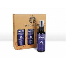 Renovality Original Series Argan Oil pro ženy tělový olej 100 ml + tělový olej Apricot Oil 100 ml + hyaluronové sérum Hyaluron Serum 50 ml dárková sada