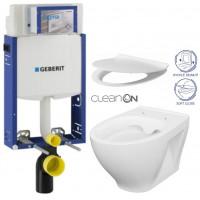 GEBERIT - SET Kombifix KOMBIFIX ECO pro závěsné WC, nádržka UP 320 bez Ovládací desky + WC CERSANIT MODUO CLEANON + SEDÁTKO (110.302.00.5 MO1)