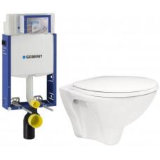 GEBERIT - SET Kombifix KOMBIFIX ECO pro závěsné WC, nádržka UP 320 bez Ovládací desky + WC ARES + SEDÁTKO (110.302.00.5 AR1)