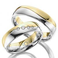 Snubní prsten Couple Mahogany kombinace bílé žluté zlato