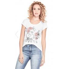 GUESS tričko Sophie Floral Graphic Tee bílé vel. L