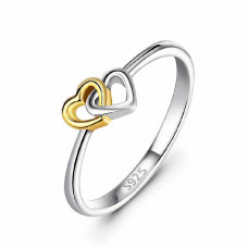 OLIVIE Stříbrný prstýnek SPOJENÁ SRDCE 4214 Velikost prstenů: 9 (EU: 59 - 61)