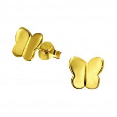 OLIVIE - Dětské stříbrné náušnice MOTÝLEK GOLD 0165