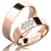 Zlato Snubní prsten Couple Flamenco z růžového zlata