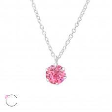 OLIVIE Stříbrný náhrdelník s krystaly Swarovski ROSE 0976