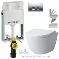 GEBERIT - SET KOMBIFIXBasic včetně ovládacího tlačítka DELTA 50 CR pro závěsné WC LAUFEN PRO LCC RIMLESS + SEDÁTKO (110.100.00.1 50CR LP2)
