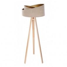 Stojací lampa Awena béžová + zlatý vnitřek + dřevěné nohy