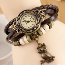 Kožené Vintage hodinky Sova - 2 barvy Barva: Hnědý