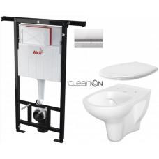 ALCAPLAST - SET Jádromodul - předstěnový instalační systém + tlačítko M1721 + WC CERSANIT ARTECO CLEANON + SEDÁTKO (AM102/1120 M1721 AT2)