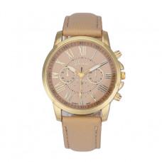 Unisex kožené hodinky Geneva Atraktivnost - 5 barev Barva: Béžová