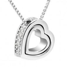 Stříbrný náhrdelník Dvojité srdce - 4 barvy Barva: Bílý