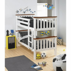 Dětská patrová postel ROWAN NEW bílá/hnědá - TempoKondela