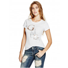 GUESS tričko Irisa Staggered Logo tee bílé vel. XS