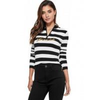 GUESS svetr Lynette Sequin Logo Zip Sweater černobílý vel. S