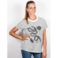 RVCA LOVE SURVIVAL NAVY STRIPE dámské tričko s krátkým rukávem - XS