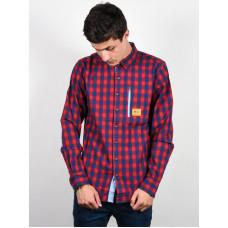 Picture Harrison BLUE/RED pánská košile dlouhý rukáv - S