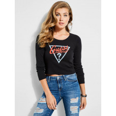 GUESS tričko Originals Ribbed Logo Tee černé vel. XS