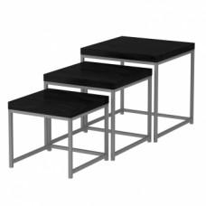 Set 3 příručních stolků ALVAN černý dub/šedá - TempoKondela
