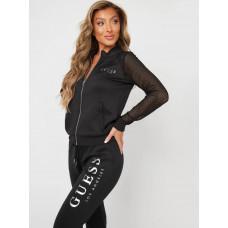 GUESS mikina Jade Mesh Zip-up Jacket černa vel. S
