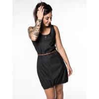 Alife and Kickin DOJAAK black denim společenské šaty krátké - L