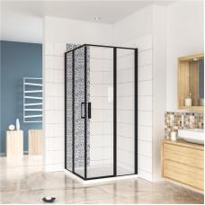 Čtvercový sprchový kout BLACK SAFIR R909, 90x90 cm, se dvěma jednokřídlými dveřmi s pevnou stěnou, rohový vstup