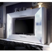 Obývací stěna Adge bílá s RGB osvětlením - TempoKondela