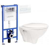 LAUFEN - Rámový podomítkový modul CW1 SET BÍLÁ + ovládací tlačítko BÍLÉ + WC ARES + SEDÁTKO (H8946600000001BI AR1)