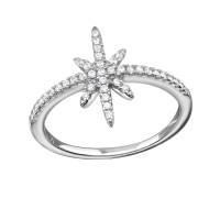 OLIVIE Stříbrný prsten HVĚZDA s kubickými zirkony 1027 Velikost prstenů: 6 (EU: 51 - 53)