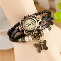 Kožené Vintage hodinky Motýlek - 5 barev Barva: Černý
