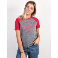 Vans ATTENDANCE RINGER GREY HEATHER/CERISE dámské tričko s krátkým rukávem - L
