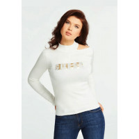 GUESS svetr Holly Embellished Logo Sweater cream vel. XL