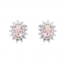 OLIVIE Stříbrné náušnice s růžovým zirkonem 4550