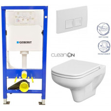 GEBERIT - SET Duofix Sada pro závěsné WC 458.103.00.1 + tlačítko DELTA50 bílé + WC CERSANIT COLOUR CLEANON + SEDÁTKO (458.103.00.1 50BI CN1)
