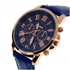 Unisex kožené hodinky Geneva Atraktivnost - 5 barev Barva: Modrá