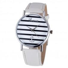Unisex kožené hodinky Geneva Námořník času - 3 barvy Barva: Stříbrno- bílé