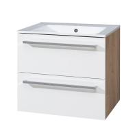 MEREO - Koupelnová skříňka s keramickým umyvadlem 60 cm, spodní, bílá/dub, 2 zásuvky (CN670)