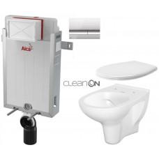 ALCAPLAST - SET Renovmodul - předstěnový instalační systém + tlačítko M1721 + WC CERSANIT ARTECO CLEANON + SEDÁTKO (AM115/1000 M1721 AT2)
