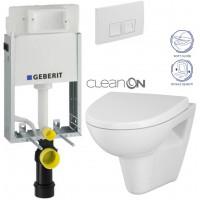 GEBERIT - SET KOMBIFIXBasic včetně ovládacího tlačítka DELTA 50 Bílé pro závěsné WC CERSANIT CLEANON PARVA + SEDÁTKO (110.100.00.1 50BI PA1)