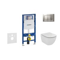 Geberit Sada pro závěsné WC + klozet a sedátko Ideal Standard Tesi - sada s tlačítkem Sigma30, matný/lesklý/matný chrom 111.300.00.5 NF7