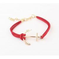 Kožený náramek Zlatá kotva- 5 barev Barva: Červený