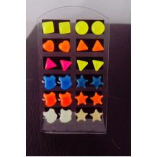 Náušnice fosforové pecky sada 12 párů - 6 motivů Motiv: Čtverec, trojúhelník, srdce, hvězdička, jablko