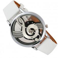 Unisex kožené hodinky Houslový klíč - 2 barvy Barva: Bílá