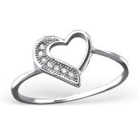 OLIVIE Stříbrný prsten SRDCE se zirkony 1203 Velikost prstenů: 9 (EU: 59 - 61)