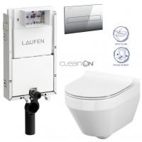 LAUFEN - Podomít. systém LIS TW1 SET + ovládací tlačítko CHROM + WC CERSANIT CREA OVÁL CLEANON + SEDÁTKO (H8946630000001CR CR1)