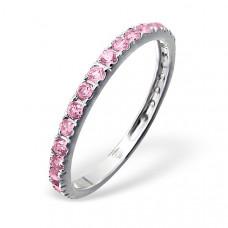OLIVIE Stříbrný prsten se zirkony PINK 0659 Velikost prstenů: 7 (EU: 54 - 56)