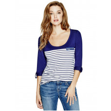 GUESS top Keitin Long-Sleeve modrý vel. XS